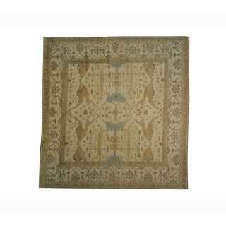 White Wash Oushak Square 100-percent Wool Hand-knotted Area Rug (12' x 12')
