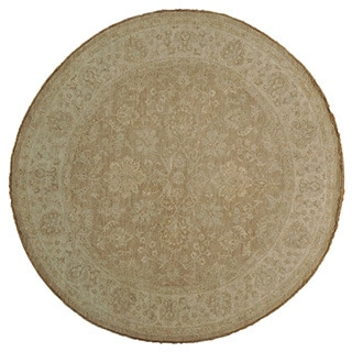 Washed Out Taupe Peshawar Rug Hand-knotted (8' Round)