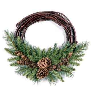 16-inch Pine Cone Grapevine Wreath Pack