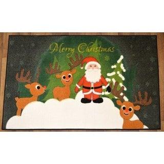 Green Santa Claus's Reindeer Design Non-flammable Non-Slip Christmas Mat Rug (2' x 3'3)