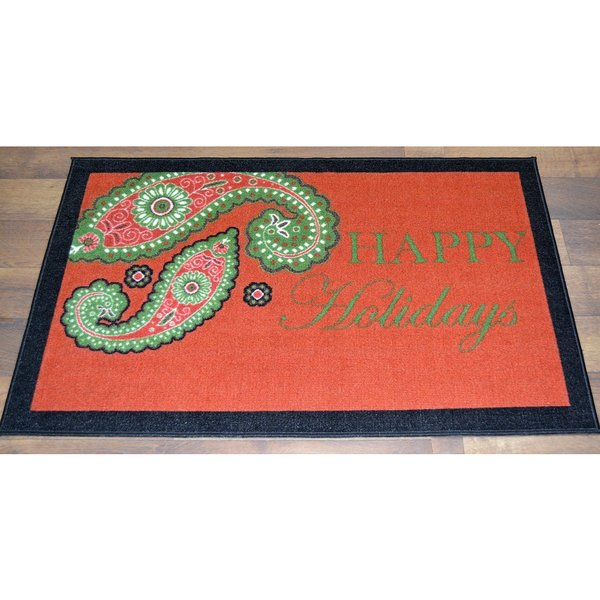 Red Happy Holidays Paisley Design Non-flammable Non-Slip Christmas Mat Rug (2' x 3'3)