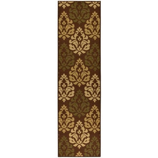 Ottohome Collection Chocolate Contemporary Damask Design Runner Rug (1'8 x 4'11)