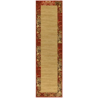 Ottohome Collection Beige Contemporary Bordered Design Runner Rug (1'8 x 4'11)