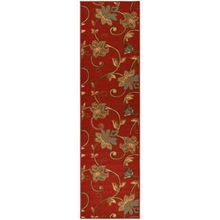 Ottohome Collection Dark Red Floral Garden Design Runner Rug (1'8 x 4'11)