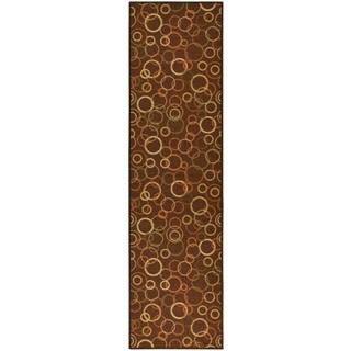 Ottohome Collection Chocolate Contemporary Circles Design Runner Rug (1'8 x 4'11)