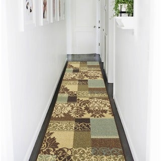 Ottohome Collection Beige Contemporary Damask Design Runner Rug (1'8 x 4'11)
