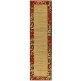 Ottohome Collection Beige Contemporary Bordered Design Runner Rug (1'10 x 7')