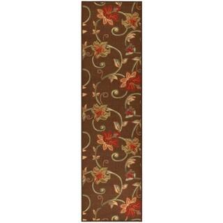 Ottohome Collection Chocolate Floral Garden Design Runner Rug (1'10 x 7')