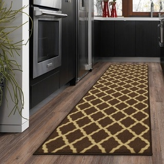 Ottohome Collection Chocolate Contemporary Moroccan Trellis Design Runner Rug (1'10 x 7')