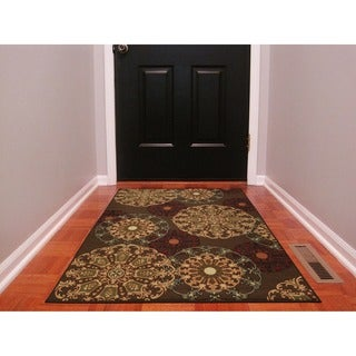 Ottohome Collection Chocolate Contemporary Damask Design Area Rug (3'3 x 5')