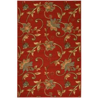 Ottohome Collection Dark Red Floral Garden Design Area Rug (3'3 x 5')