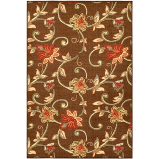 Ottohome Collection Chocolate Floral Garden Design Area Rug (3'3 x 5')