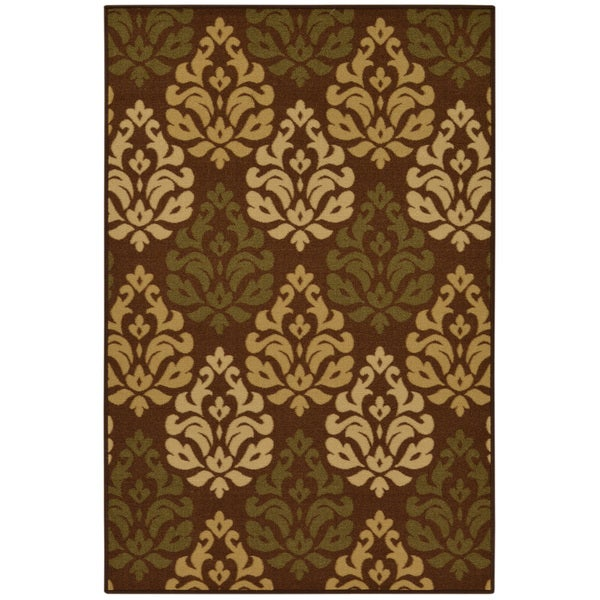 Ottohome Collection Chocolate Contemporary Damask Design Area Rug (5' x 6'6)