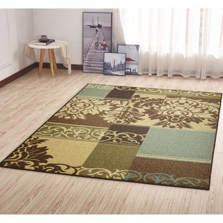 Ottohome Collection Beige Contemporary Damask Design Area Rug (5' x 6'6)