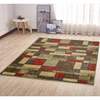 Ottohome Collection Multi-Color Contemporary Boxes Design Area Rug (5' x 6'6)