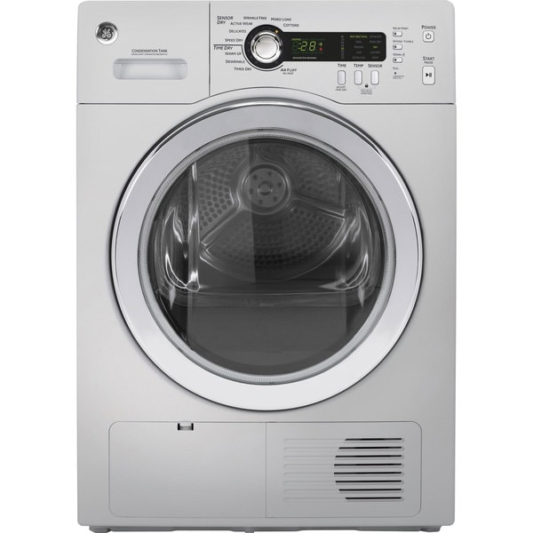 GE 24-inch Silver Ventless Condenser Electric Dryer
