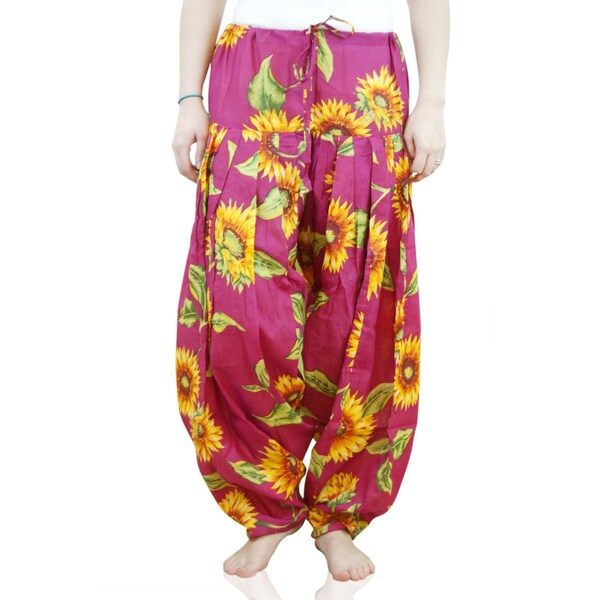 Indian Clothing Women's Full Length Sunflower Print Patiala Dancer Pants with Scarf (India)