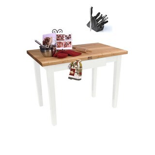 John Boos Alabaster Classic Country 48 x 24 Work Table and Henckels 13-piece Knife Block Set