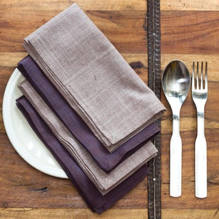 DUSK Handmade Cotton Napkins, Set of 4 in two complementing colors (India)