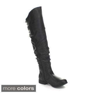 Top Moda Holly-1 Women's Over-the-Knee High Lace-up Slouchy Riding Boots