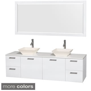 Wyndham Collection Amare 72 inch Double Vanity in Glossy White, White Stone Countertop, 70 inch Mirror