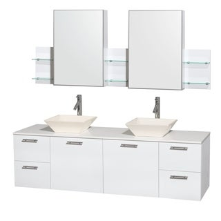 Wyndham Collection Amare 72 inch Double Vanity in Glossy White, Medicine Cabinet