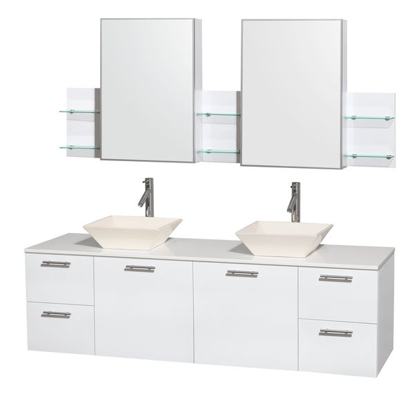 Wyndham Collection Amare  Inch Double Vanity In Glossy White White