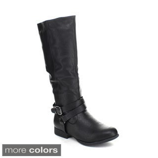 Top Moda Land-1 Women's Knee High Buckle Riding Boots