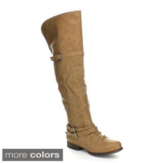 Top Moda Step-5 Women's Over-the-Knee High Buckle Riding Boots