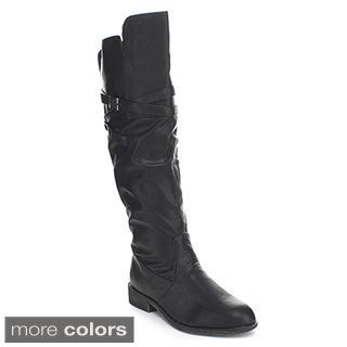 Top Moda Fay-3 Women's Over-the-Knee High Buckle Riding Boots