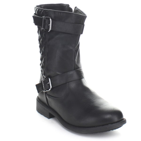 Top Moda Fab-20 Women's Mid-Calf Quilt Buckle Riding Boots