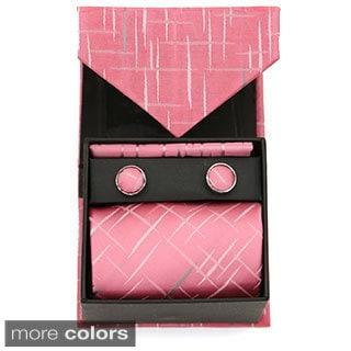 Ferrecci Vintage Squares 3pc Box Neck Tie Cuff Links and Hanky Set