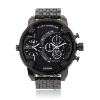 Territory Men's Round Face Quartz Dual Time Link Band Watch