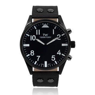 Territory Men's Round Face Quartz Canvas Style Band Watch