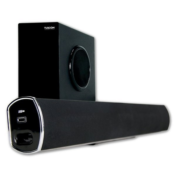 Turcom TS-404 2.1 Channel Home Theater Surround Sound Bluetooth Soundbar with Wireless Subwoofer