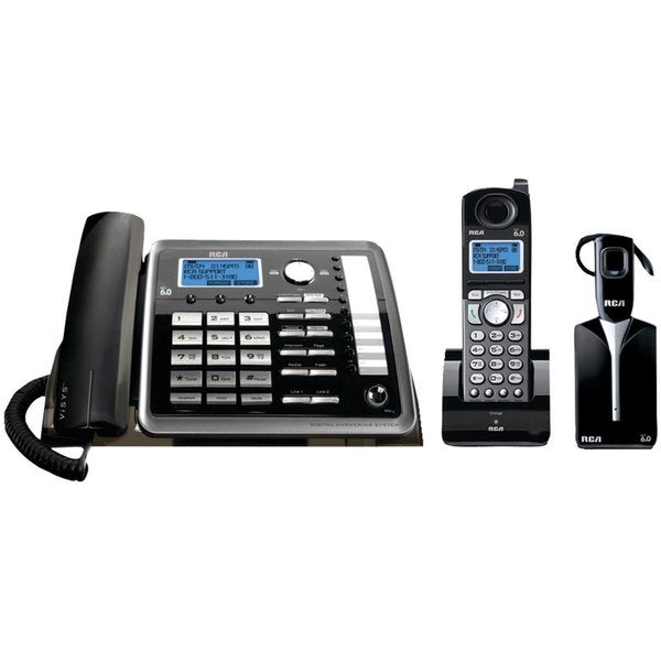 RCA ViSYS 2-line Corded/ Cordless Answering Landline Telephone with Headset