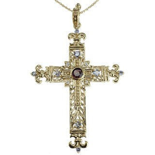 Dallas Prince Gold Over Silver Tanzanaite and Rhodolite Cross Pendant