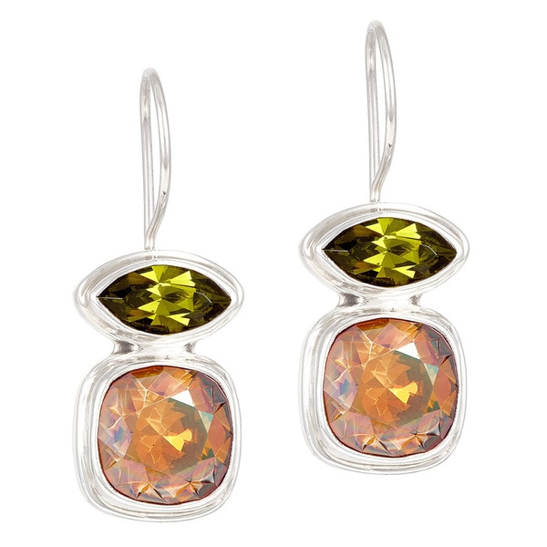 Crystal Olive and Copper in Sterling Silver Wire Earrings