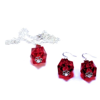 Light Siam Red Pendant and Earrings