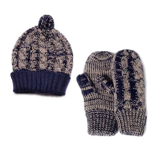 Muk Luks Cable Knit Cuff Cap and Mittens Set