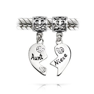 Queenberry Sterling Silver Aunt Niece Love Heart European Bead Charm
