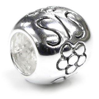 Queenberry Sterling Silver Sister with Flower Family European Bead Charm
