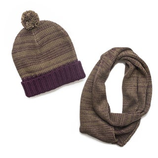 Muk Luks Women's Solid Cuff Cap and Eternity Scarf Set