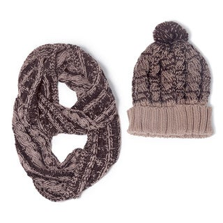 Muk Luks Women's Two-Tone Knit Cuff Cap and Eternity Scarf Set