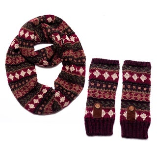 Muk Luks Women's Traditional Inifinity Scarf & Arm Warmers Set