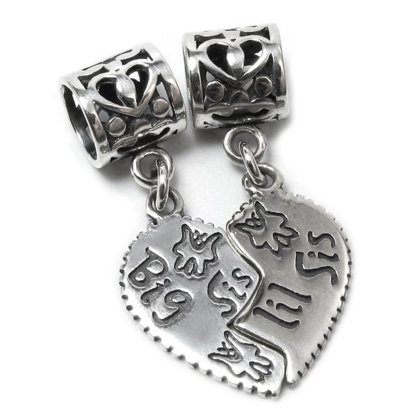 Queenberry Sterling Silver Big Sis / Little Sis Heart Pendant Dangle Bead Charm