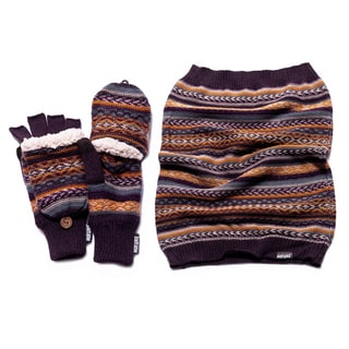 Muk Luks Women's Fairisle Funnel Scarf And Flip Mittens Set