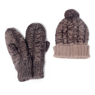 Muk Luks Women's Knit Cuff Cap And Mittens Set