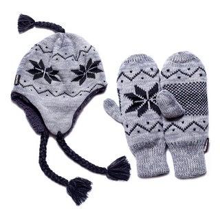 Muk Luks Women's Grey Snowflake Helmet and Mittens Set