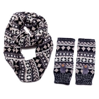 Muk Luks Women's Traditional Eternity Scarf and Armwarmers Set